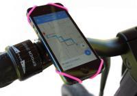 世界一シンプル!どんなサイズのスマートフォンでも取り付けできる自転車用スマホホルダー「BikeStrap」