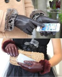 5本の指全部で操作できる本革スマホ手袋