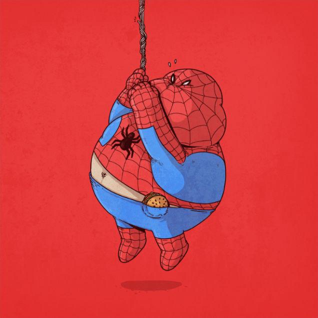 スパイダーマン  何これかわいい人気画家が描いた【有名キャラクター】を太らせたメタボイラストが面白い , NAVER まとめ