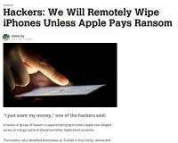 ハッカー集団がAppleに身代金10万ドル要求、ユーザーの端末をリセットすると脅迫