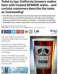 下水からビールを醸造、「傑作」「おいしい」と評判 米ビール会社
