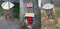 ハーバード大学にある木の切り株につくられた、くまのプーさんの家