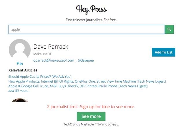 特定の分野に強いジャーナリストを探し出せるサイト「Hey.Press」