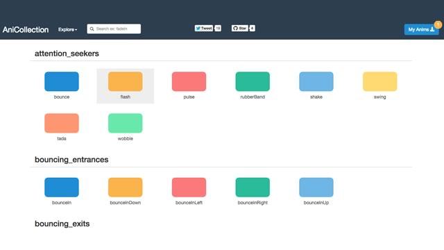 CSS3を使ったアニメーションを70種類以上ダウンロードできるサイト「AniCollection」