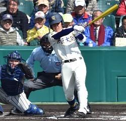 <選抜高校野球>奈良大付の高橋 チーム唯一となる安打