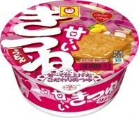 バレンタインをイメージしたピンクのパッケージ マルちゃん「甘―いきつねうどん」が期間限定登場