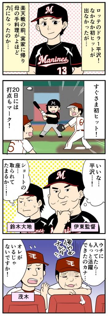 ロッテ平沢、嬉しいプロ初安打と初打点!