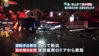 千葉・流山市で車が横転、助手席の女性が左腕骨折