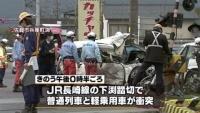 佐賀市の踏切で列車と衝突、軽乗用車の男性が首の骨折る重傷