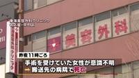 名古屋の美容外科、手術後に女性死亡