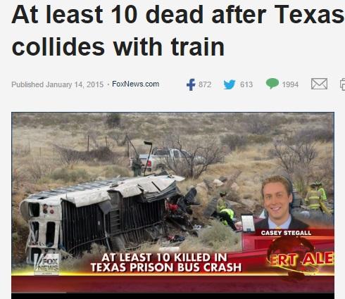 受刑者を乗せた護送車が凍結路面でスリップ。高速道路から落下し列車と衝突。(米)