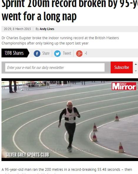 健脚を誇る95歳、英マスターズ陸上男子200mで新記録!