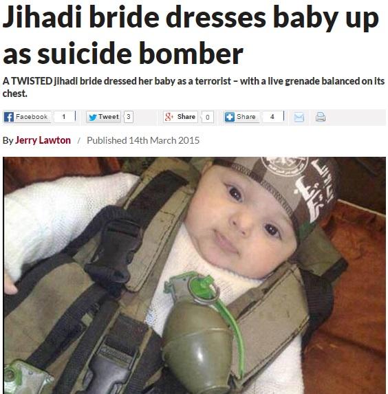 「イスラム国(IS)」死にもの狂いか。赤ちゃんも自爆テロ要員という写真が公開。
