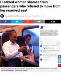 障がい者の予約席に座った男性 席を譲らず ネットは怒りの渦に(英)