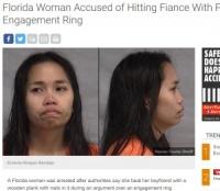 「婚約指輪が安っぽい」 25歳女、クギの出た棒で婚約者を叩き逮捕(米)