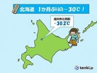 北海道 1か月ぶりの-30℃!