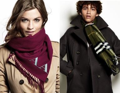 バーバリーのクリスマスギフトコレクションに、ブランドのアイコン、カシミアスカーフが登場