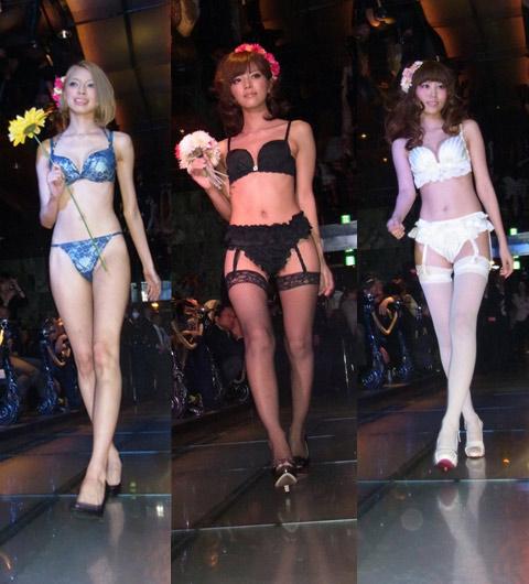 会場では初披露となる12月発売の新作から、2012年春夏のレッグウエアなど、最新のランジェリーを身につけたモデルたちが続々登場。上下純白の清楚な印象のランジェリー