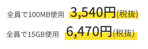 全員で100MB使用 3,540円(税抜) ~ 全員で15GB使用 6,470円(税抜)