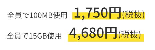 全部で100MB使用 + 1,750円(税抜) + 全部で15GB使用 + 4,680円(税抜)
