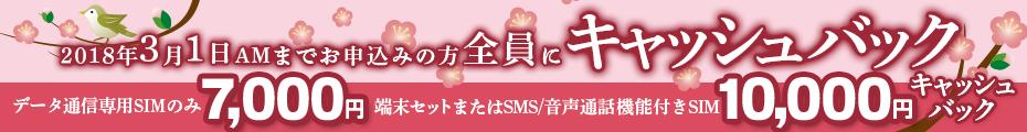 2月のキャッシュバックキャンペーン | 3月1日までのお申込みの方全員にキャッシュバック!!