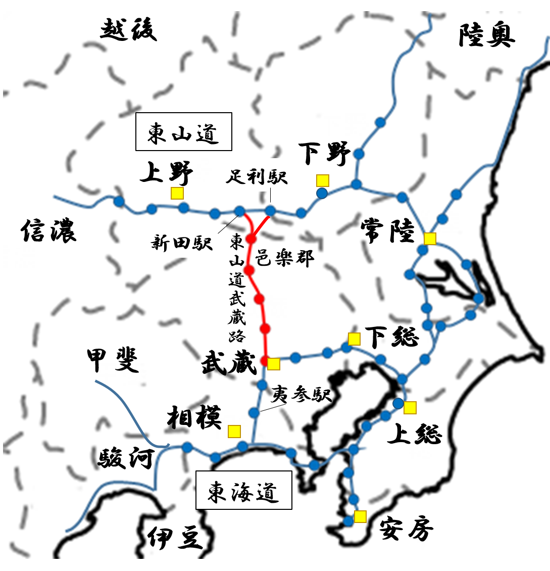 武蔵国は東山道に属していた時期があった