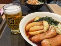 富士そばに「レーベンブロイ」飲みながらソーセージを食べられる店舗があった!