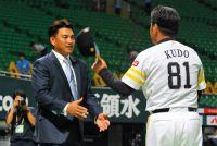 ロッテ井口、福岡で古巣に挨拶 王貞治氏は引退試合の一発に「見事だった」