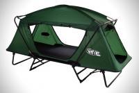 高床式テントで雨が降っても凸凹でも快適な寝心地を