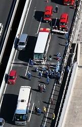 <東関道>観光バスやトラックなど複数絡む事故、23人負傷