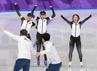 <五輪スケート>日本、女子追い抜きで金 冬季最多11個目