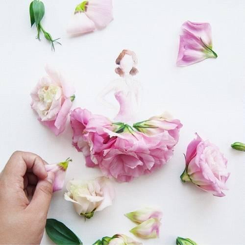 写真 女性イラストに 花のドレス 細やかな造形の作品が話題に 14年5月8日 エキサイトニュース