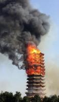 「アジアで最も高い木塔」が火災で焼失―中国