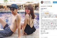 小嶋陽菜、アンガールズ田中と大胆水着でセクシー2ショットを披露