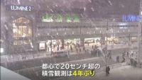 東京都心で4年ぶり20センチ超の積雪、東京駅では新幹線をホテルに