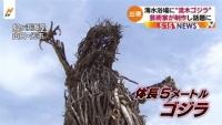 """海水浴場に""""流木ゴジラ"""" 山口・光市"""