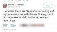 コミー氏との会話テープ実在せず、トランプ氏が明らかに