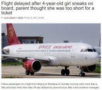 4歳児が運賃を支払わず飛行機へ 搭乗者全員が降機、5時間の遅延(中国)