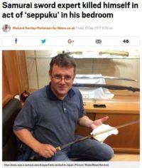 日本刀専門家のイギリス人男性、実家の寝室で切腹