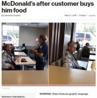 マクドナルドでホームレスに食事を奢った男性、2人とも店から追い出される(米)