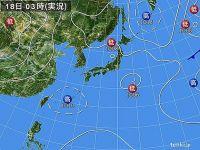 18日 近畿から関東 激しい雨や雷雨