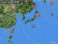 22日 広い範囲で大気の状態が不安定
