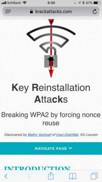 【WPA2】Apple、次回アップデートでWi-Fiの脆弱性「KRACK」の修正を配信へ