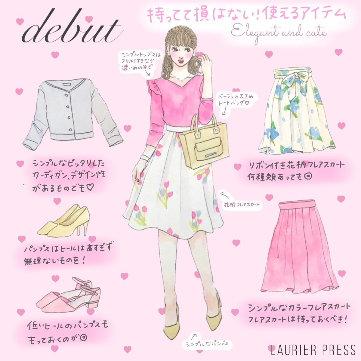 ボトムス上品系には絶対必要なのがフレアスカート! 春は薄ピンクやイエローなど、明るいカラーをチョイス。花柄アイテムなど、何種類あっても使えます♪