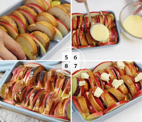 【今月のスイーツ】固いパンもしっとり仕上がる♪リンゴとさつまいものパンプディング