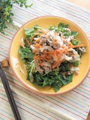 甘辛新玉そぼろと水菜のサラダby:まんまるらあてさん