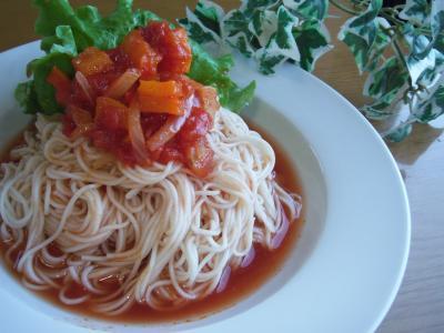 ひんやり☆甘~い。。♪ラタトゥイユ☆冷製トマト素麺。。♪by:toshieさん