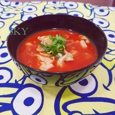 トマトジュースで温冷どちらもトマト味噌汁by:chefたま(永井めぐ)さん
