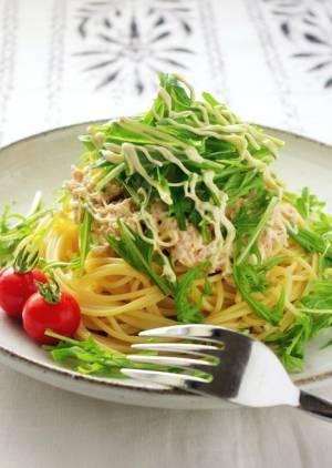 めんつゆで作る!水菜のツナおろしスパゲティby:高羽ゆきさん