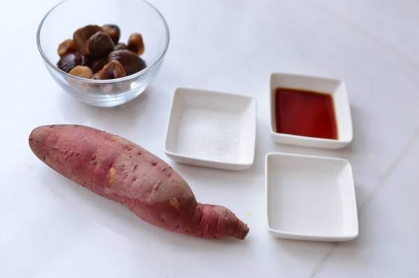 市販の甘栗でお手軽ほくほく☆「サツマイモと栗の炊き込みご飯」の材料